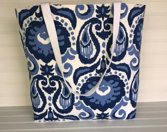 Blue Paisley Tote | Handmade Everyday Tote | Market Bag