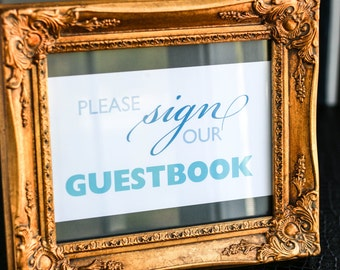 """Guestbook Sign, Wedding Signage, Modern Wedding Sign, Beach Wedding Stationery, Table Decor, Blue and Grey -""""Bold Striped"""" Guestbook Sign"""