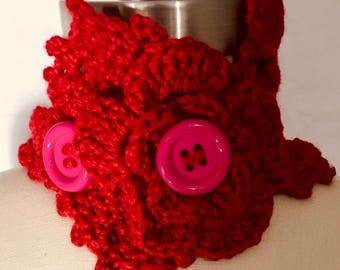 Crochet Neck Warmer With Buttons Red