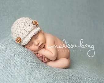 Oatmeal Tweed Newsboy Hat Newborn Photography Prop Optional Diaper Cover Added