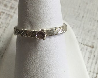 Light Pink Tourmaline Argentium Sterling Silver Ring. Size 6.5