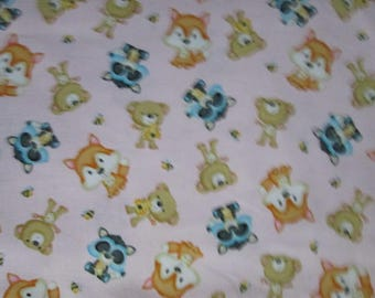 Foxes Bee Racoons Bears Pink Cotton Fabric Fat Quarter or Custon Listing