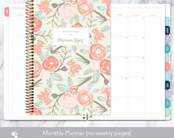 MONTHLY PLANNER | 2018 2019 no weekly view | choose your start month | 12 month calendar monthly tabs personalized | sage pink gold floral
