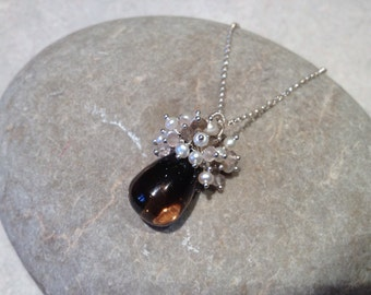 Dimmet - smooth smoky quartz with cascade of rose quartz, pearls and smoky quartz