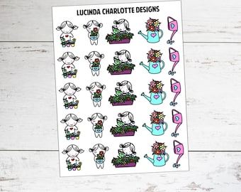 Water Plants | Miki Character | Planner Stickers