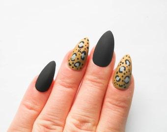 Matte Leopard Print Nails / Fake Nails / Stiletto Nails / Press on Nails / False Nails / Acrylic Nails