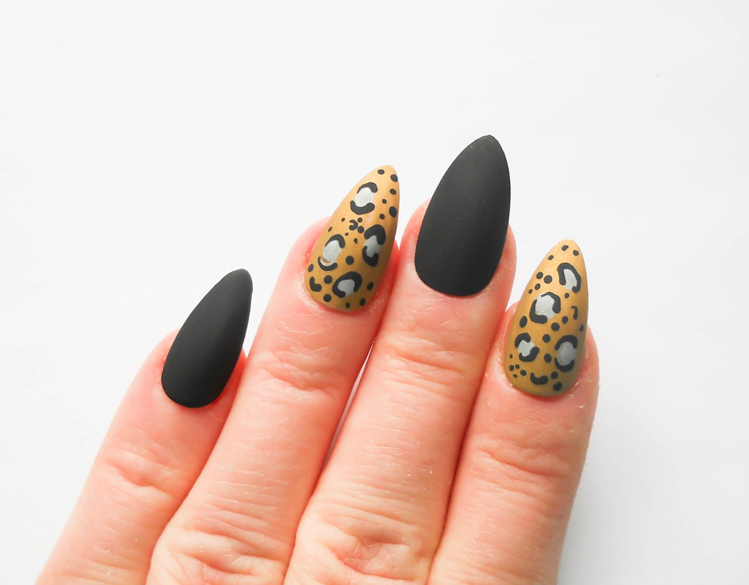 Matte Leopard Print Nails / Fake Nails / Stiletto Nails /