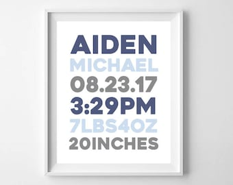 Birth Announcement Print, Baby Name Sign, Boy Modern Nursery Wall Art, Baby Birth Stats, Nursery Decor Gift, Personalized Digital Printable