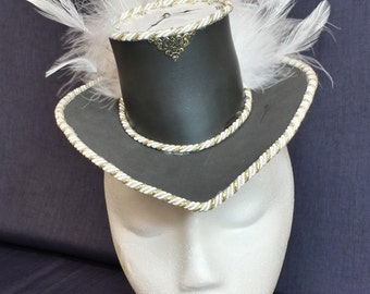 Light-up mini top hat w/ feathers & posable clock face Steampunk Victorian