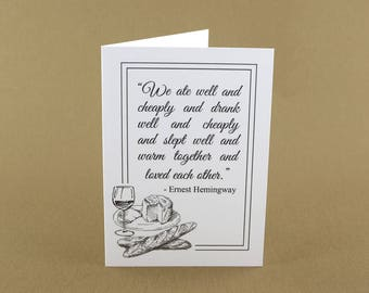 Ernest Hemingway Quote Note Card - Book Lover Cards - Blank Cards - Gifts for Writers