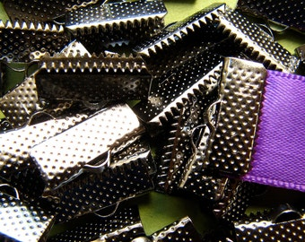 144 pieces 16mm or 5/8 inch Black Chrome or Gunmetal Ribbon Clamp End Crimps