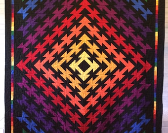 Colorful rainbow full/double bed quilt or throw
