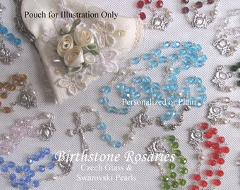 Birthstone Personalized Rosaries -or Plain -  Heirloom Birthstone Rosary-Baptism, First Communion- Personalized Rosary, Unique Rosary