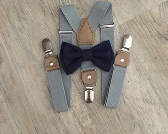 Bowtie & Suspender Set/Navy Bowtie/ Gray Suspenders/ Navy Blue Bowtie/ Navy Bow tie/ Toddler Suspenders/ Navy Wedding Bow tie