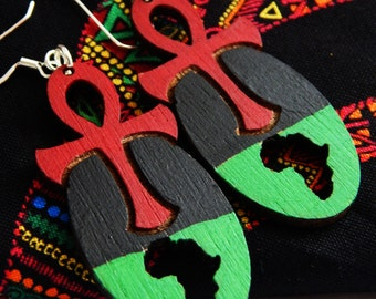 Ankh Earrings Africa Jewelry Afrocentric Earring Ankh African Jewelry Red Black Green Earrings African Jewelry Egyptian RBG clip on earrings