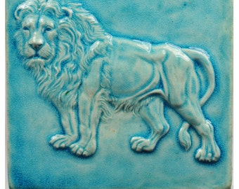 Lion Tile, single glazed high fired stoneware.