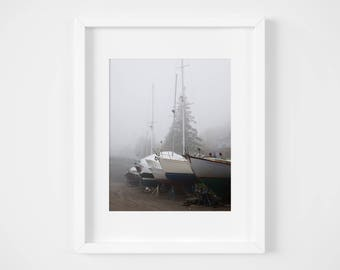 Sailboat photo print - New England wall art - Nautical photography - Neutral home decor  5x7 8x10 11x14 - Sailing art - Maine print dry dock