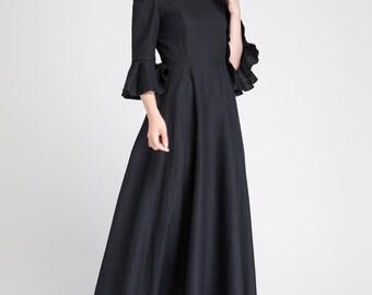 linen maxi dress, off shoulder dress, summer dress, party dress, evening dress, cocktail dress, womens dresses, elegant dress 1892