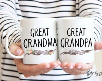 Great grandparents gift, coffee mug set, Christmas Gift, Great Grandma Great Grandpa mug set, pregnancy announcement, Grandpa gift, Grandma