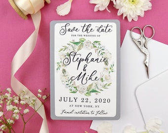 Ivory Floral Save the Date Card, Custom Wedding Save the Date, Wedding invitation Set, Rustic Save the Date, Save Our Date, Wedding Card