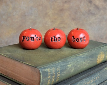 Friend Christmas gift ... Red you're the best handmade clay apples ... 3 Word Apples, Holiday gift