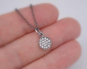 Pave Cubic Zirconia Necklace, Oxidized Sterling Silver Charm, Black Gunmetal Plated Chain, Dainty, Minimalist, Simple CZ Jewelry