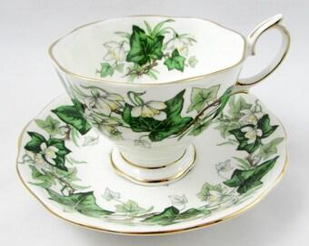 "Royal Albert ""Ivy Lea"" Tea Cup and Saucer, Vintage Bone China, Ivy Leaf"