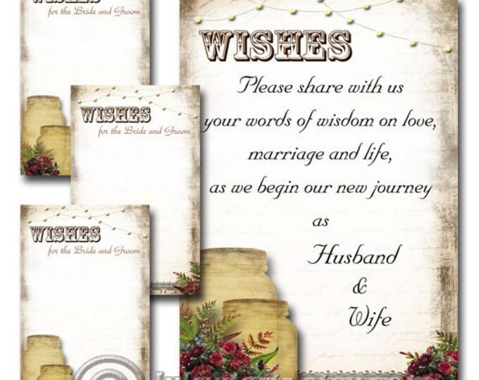 Wine Color Set of MASON JAR Rustic Wedding Wish Sign and Tags, Wish Tree Cards, Printable, DIY Weddings, Wedding Shower, Wedding Decoration