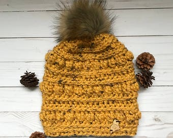 Bumpy Beanie; Adult Crochet Hat with detachable Faux Fur Pom Pom