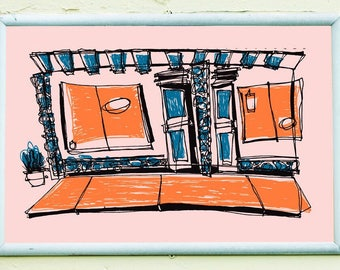 THE STRIP MALL | Los Angeles screenprint retro 1950's style cartoon colors | by Kathryn DiLego