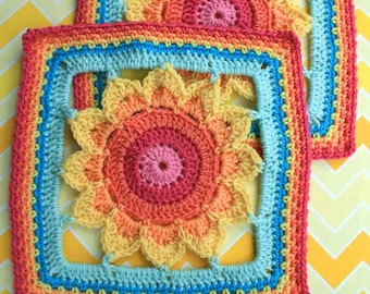 Crochet Pattern - Big Framed Flower Square - PDF Instant Download