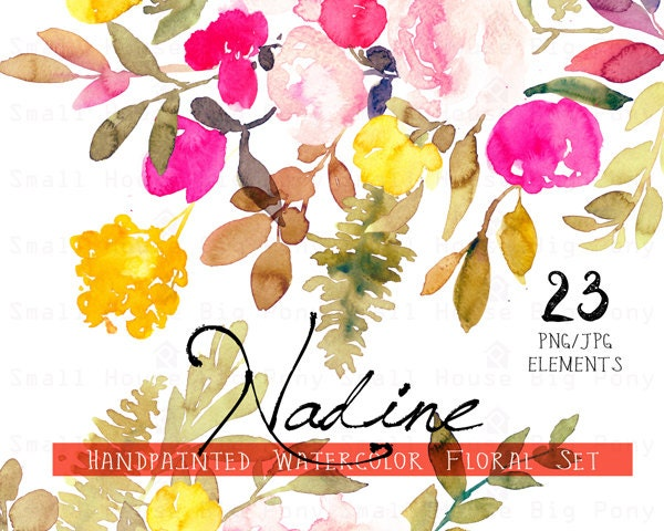 Digital Clipart Watercolor Flower Clip Art Floral Bouquet Rustic Wedding Nadine Elements