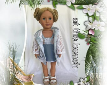 Retro doll's Swimming suit, doll's Coverup, and doll Sandals for 18 inch dolls such as Our Generation, Springfield, and My Life dolls
