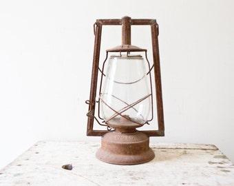 Vintage Dietz Victor Kerosene Lantern - Brown Rusted Metal Lantern Oil Lamp Tubular Old Lantern Antique