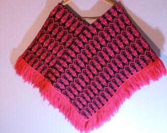 La Favorita Wool And Cotton Handwoven Poncho Made in Guatemala Hot Pink Black Native Figures