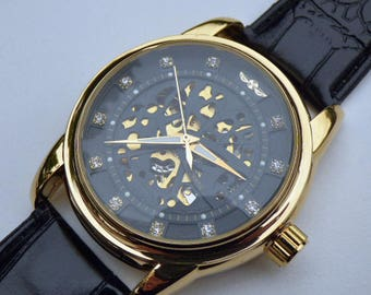 Black & Gold Luxury Mechanical Wrist Watch, Black Leather Wristband, 45mm, Automatic Watch, Unisex Watch, Rhinestones - Item MWA53103