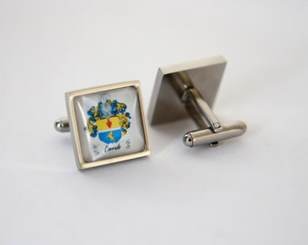 Family Crest cuff links, Coat of arms cuff links Custom cufflinks, Square cuff links Custom Photo Cuff links Custom logo cuff links