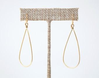 Teardrop Hoop Gold Earrings, Everyday Earrings, Minimalist Earring,Minimalist Jewelry,Simple Earrings,Lightweight Earrings,Dangle Earrings