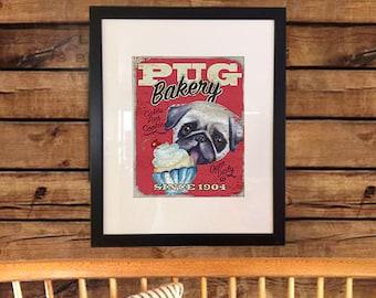 PUG BAKERY Dog Art Digital Print Vintage Retro Sign Instant Printable Download