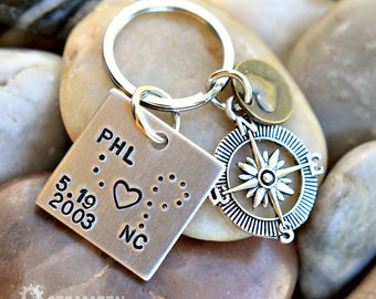 Distance Between Us Bridged by Love Keychain - Long Distance Relationships - Travel Airport & State Codes -  Wedding Gift - Couples Gift