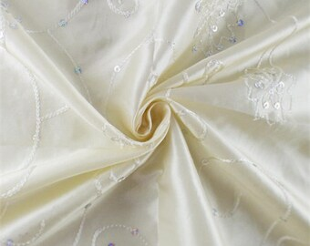 Pearl White Floral Embroidered Sequin Tissue Taffeta, Fabric By The Yard