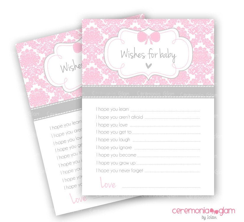 Baby Shower Wishes for Baby Printable damask pink and grey