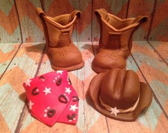 Fondant Cowboy Boots, Hat And Bandana
