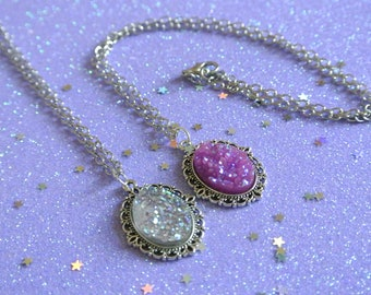 Silver & Purple Crystal Iridescent Sparkly Oval Druzy Stone Pendant Gothic Silver Necklace