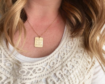 Engraved Date Necklace - Custom Personalized Gift for Mom, Dates Necklaces Name Date Gold Necklace Stamped Mother Gift Initial Name