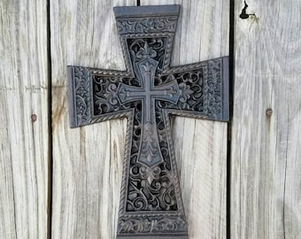 Cross, wall cross, cast iron cross, celtic cross, wall decor, metal cross, unique wall cross, wedding gift, ornate cross, iron anniversary