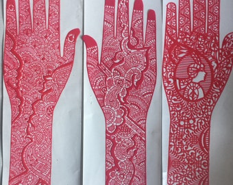 2 X Reusable Full Hand Henna Stencils Various Designs/Washable/Stick On Tattoo