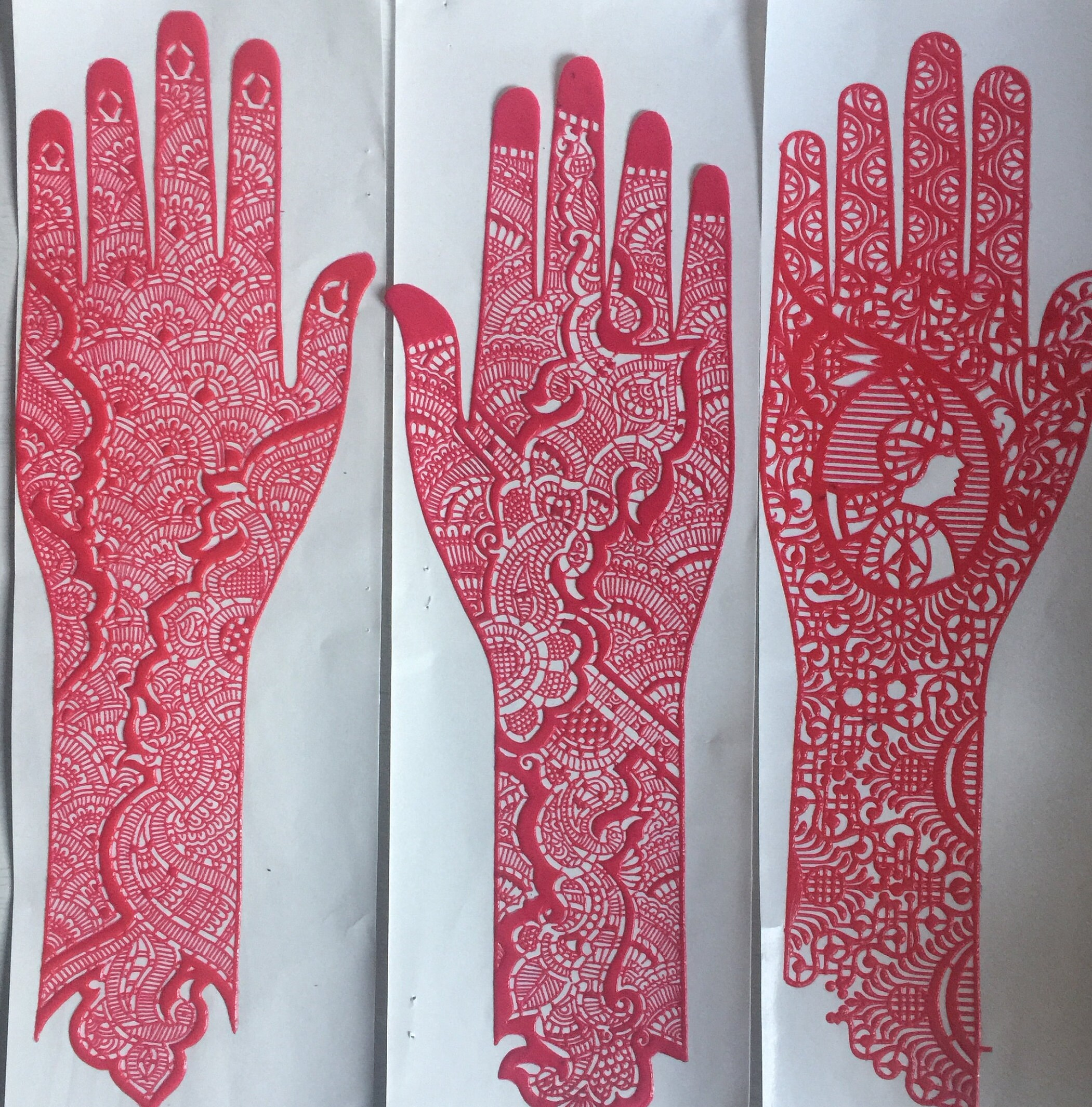 1 X Reusable Full Hand Henna Stencils Various Designs/Washable/Stick ...