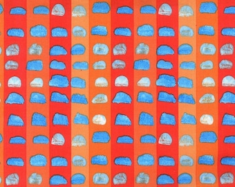 ART FABRIC - Laura Gunn, Valencia, Michael Miller, orange, blue, half inch print, geometric