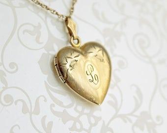 RESERVED for Miki. Vintage Initial L Locket Necklace, gold filled Letter L locket, monogram L locket, heart locket necklace, g